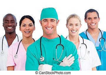 успешный, медицинская, команда, портрет