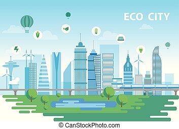 устойчивый, город, концептуальный, иллюстрация