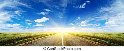 утро, лето, дорога, панорама