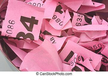 участвовать в лотерее, tickets, rolled, вверх