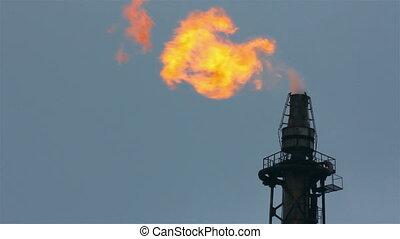 факел, является, освещенный, на, башня, очистительный завод,...