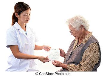 фармацевт, женщина, старый