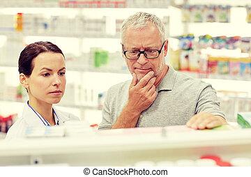 фармацевт, показ, лекарственный, к, старшая, человек, в,...