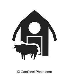 ферма, здание, силуэт, дизайн