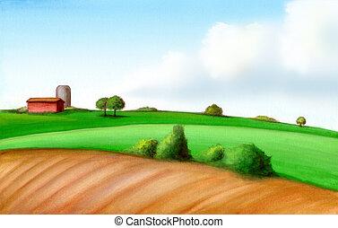 ферма, пейзаж