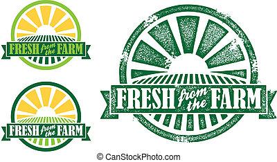ферма, свежий, stamp/seal