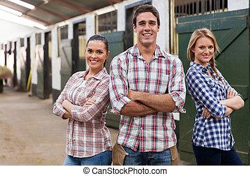 ферма, workers, crossed, arms