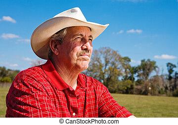 фермер, зрелый, волновался