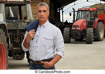 фермер, with, tractors