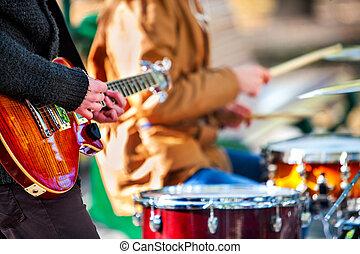 фестиваль, музыка, band., friends, playing, на, перкуссия,...