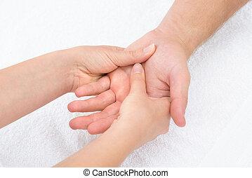 физиотерапевт, пальма, massaging