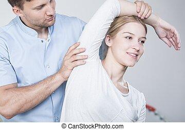 физиотерапевт, растягивание, рука, woman's