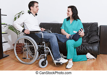 физическая, терапевт, за работой, with, пациент