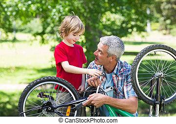 фиксация, his, отец, велосипед, сын