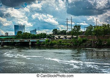 филадельфия, над, небо, pennsylvania., река, schuylkill,...