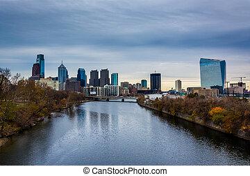 филадельфия, schuylkill, pennsylvania., линия горизонта, река