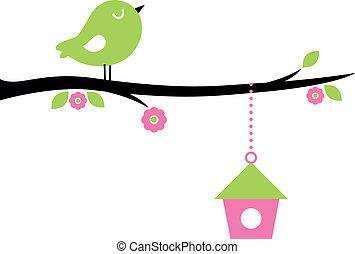 филиал, дерево, милый, птица, весна