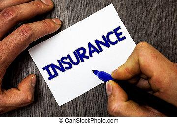 финансовый, фото, маркер, бумага, insurance., синий, за работой, ideas, письмо, держа, политика, бизнес, показ, рука, концептуальный, защита, человек, возмещение, деревянный, потери, против, showcasing, table., или