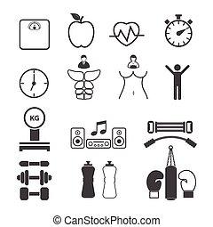 фитнес, задавать, icons