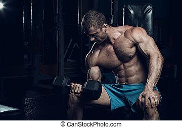фитнес, мужской, бодибилдер, модель