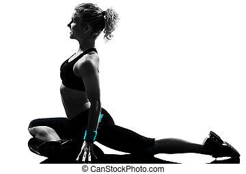 фитнес, разрабатывать, женщина, поза