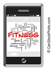 фитнес, слово, облако, концепция, на, сенсорный экран, телефон