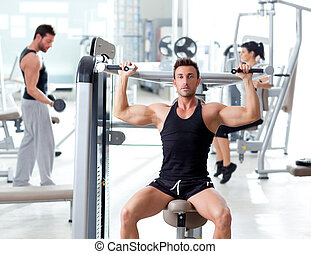 фитнес, спорт, гимнастический зал, группа, of, люди,...
