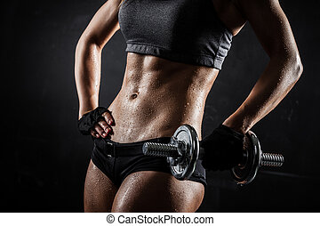 фитнес, with, dumbbells