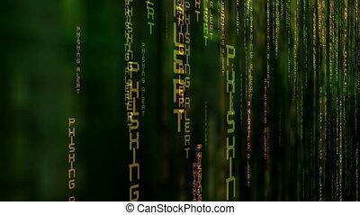 фишинг, бдительный, данные, матрица, концепция
