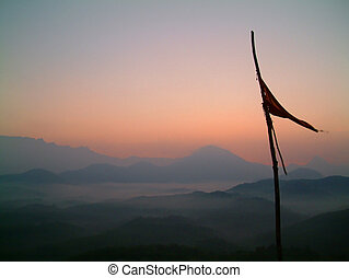 флаг, в, восход