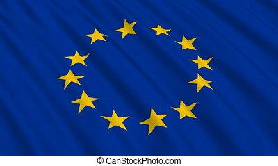 флаг, of, , европейская, союз, бесшовный, петля