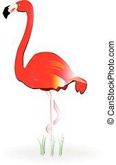 фламинго, значок, логотип