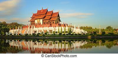 флора, ratchaphruek, королевский, парк, chiang, mai