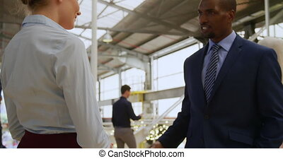 фойе, встреча, colleagues, соглашение, бизнес