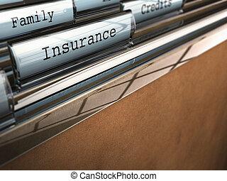 фокус, на, , слово, страхование, написано, на, , папка, with, , слово, семья, на, , задний план, пятно, эффект, and, комната, для, текст, в, , дно