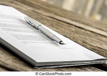 форма, контракт, заявление, ручка, чернила, или, лежащий