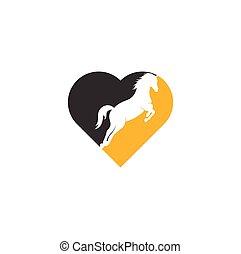 форма, лошадь, вектор, сердце, логотип, design.