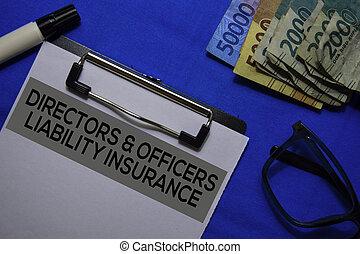 форма, ответственность, текст, directors, desk., officers, документ, страхование, &, офис, isolated