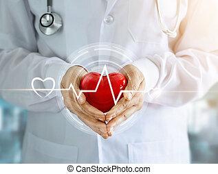 форма, стетоскоп, сердце, значок, задний план, сердцебиение, красный, больница, руки, врач