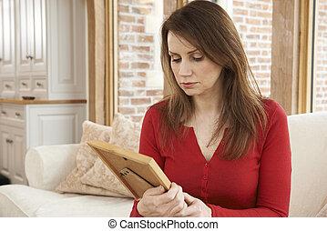 фотография, женщина, рамка, несчастный, ищу, зрелый