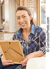 фотография, рамка, главная, ищу, зрелый, женщина, счастливый