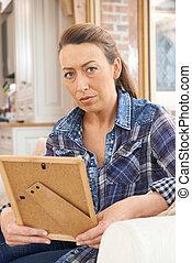 фотография, рамка, несчастный, ищу, зрелый, женщина