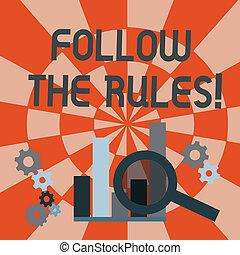 фото, над, rules., analysis., идти, следовать, увеличительный, рядом, текст, концептуальный, колесо, показ, поведение, диаграмма, руководящий, нормативно-правовые акты, стакан, знак, бар, колонка, gears, зубец, или, процедура