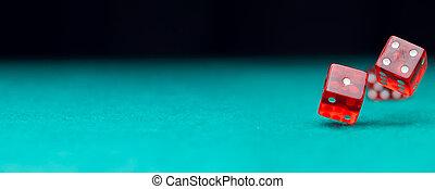 фото, of, два, игральная кость, falling, на, зеленый, таблица