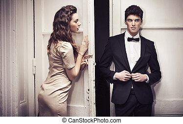 фото, of, дивный, женщина, with, ее, красивый, человек