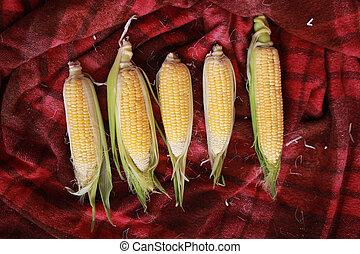 фото, of, желтый, кукуруза, на, table.