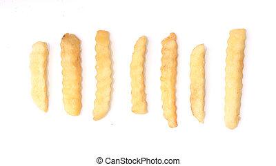 французский, fries, картофель, isolated, на, белый, background.
