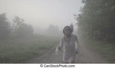 фронт, лес, женщина, бег, посмотреть