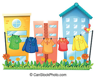 фронт, buildings, подвешивание, одежда