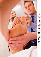 фут, терапевт, massaging, businessman's